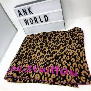 Louis Vuitton leopard large silk scarf